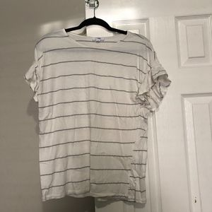 Tops - White T-shirt with Thin Black Stripes